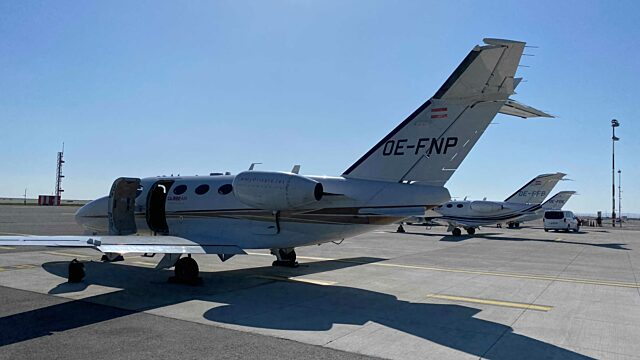 Parked GlobeAir private jets
