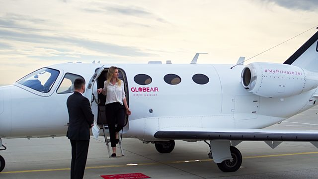 Lady on board private jet