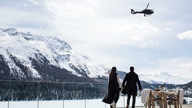 Private jet travels by helicopter