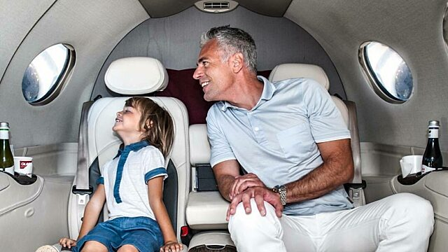 Private jet travels family