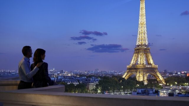 Romantic couple with Eiffel tower