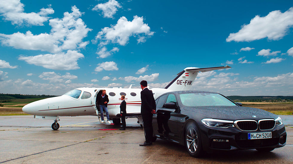 Private jet on apron