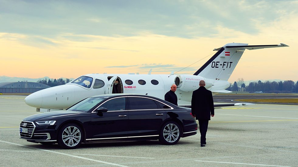 Business traveller private jet