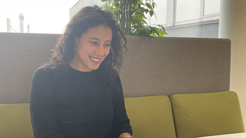 Katerina at GlobeAir's co-working space in Linz